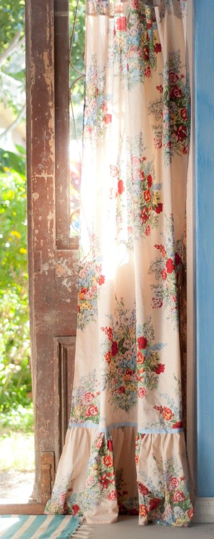floral curtain panel