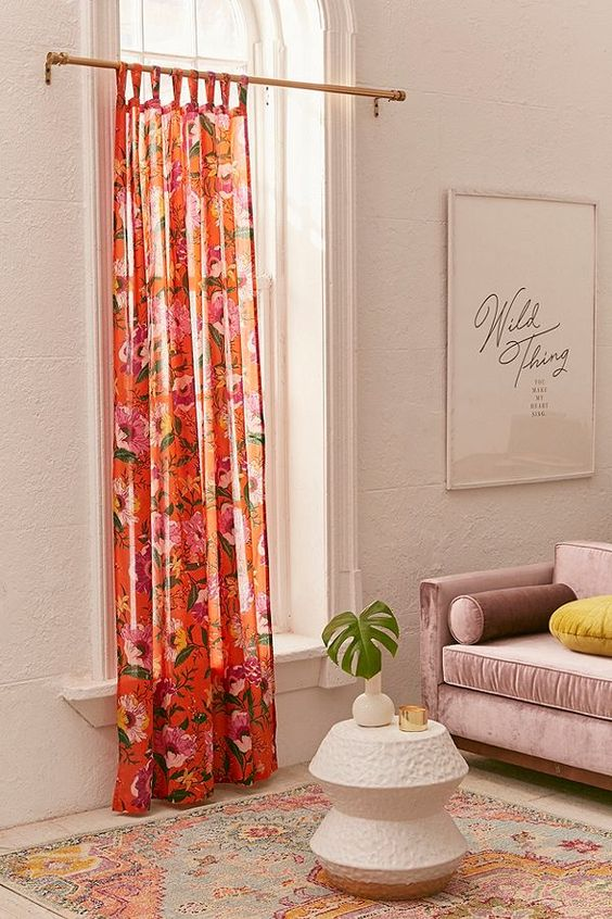 poppy floral curtain urban outfitters