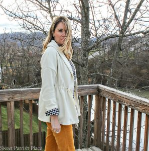 Fabletics sage coat casual work outfit