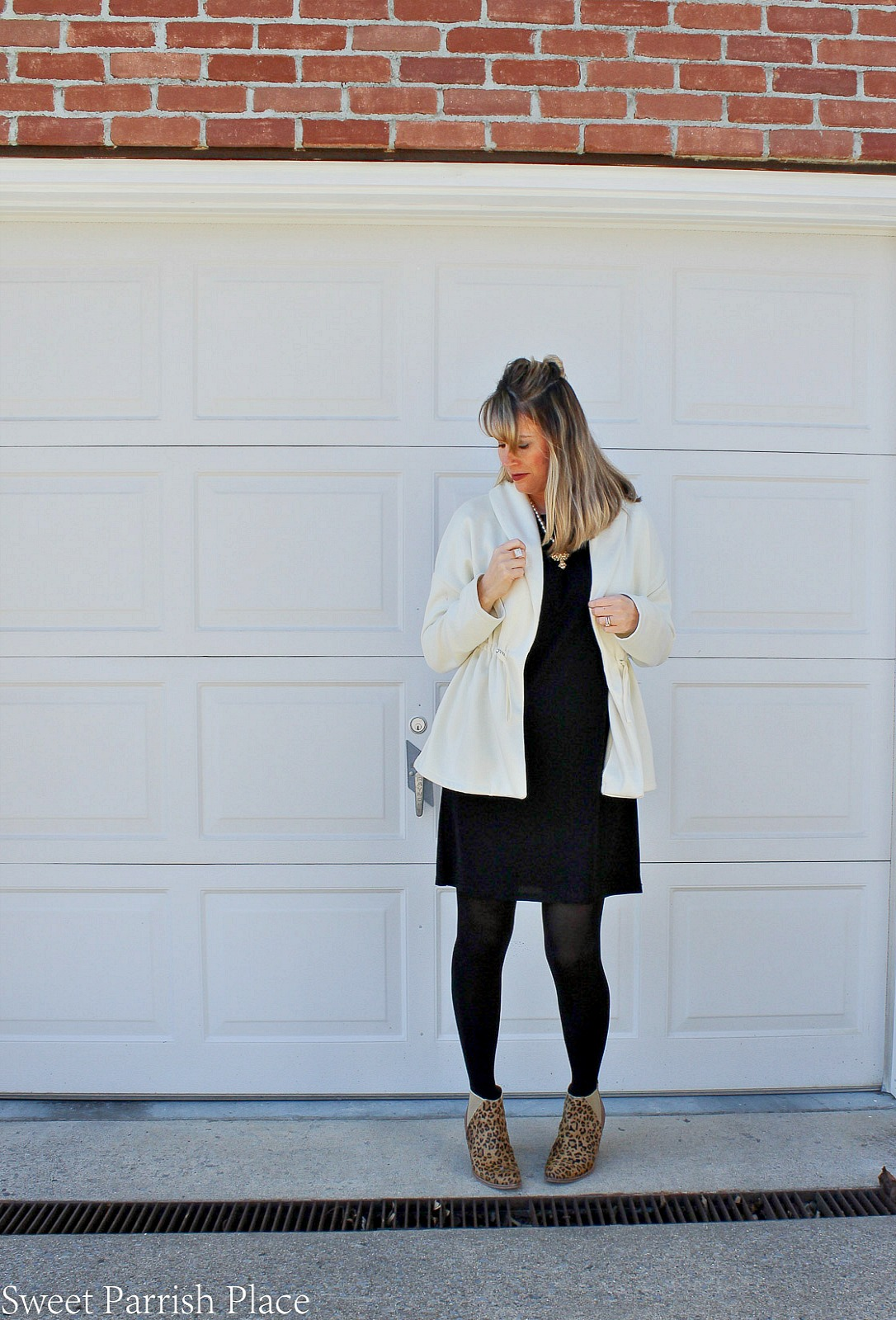 Fabletics sage coat with black Mimi dress