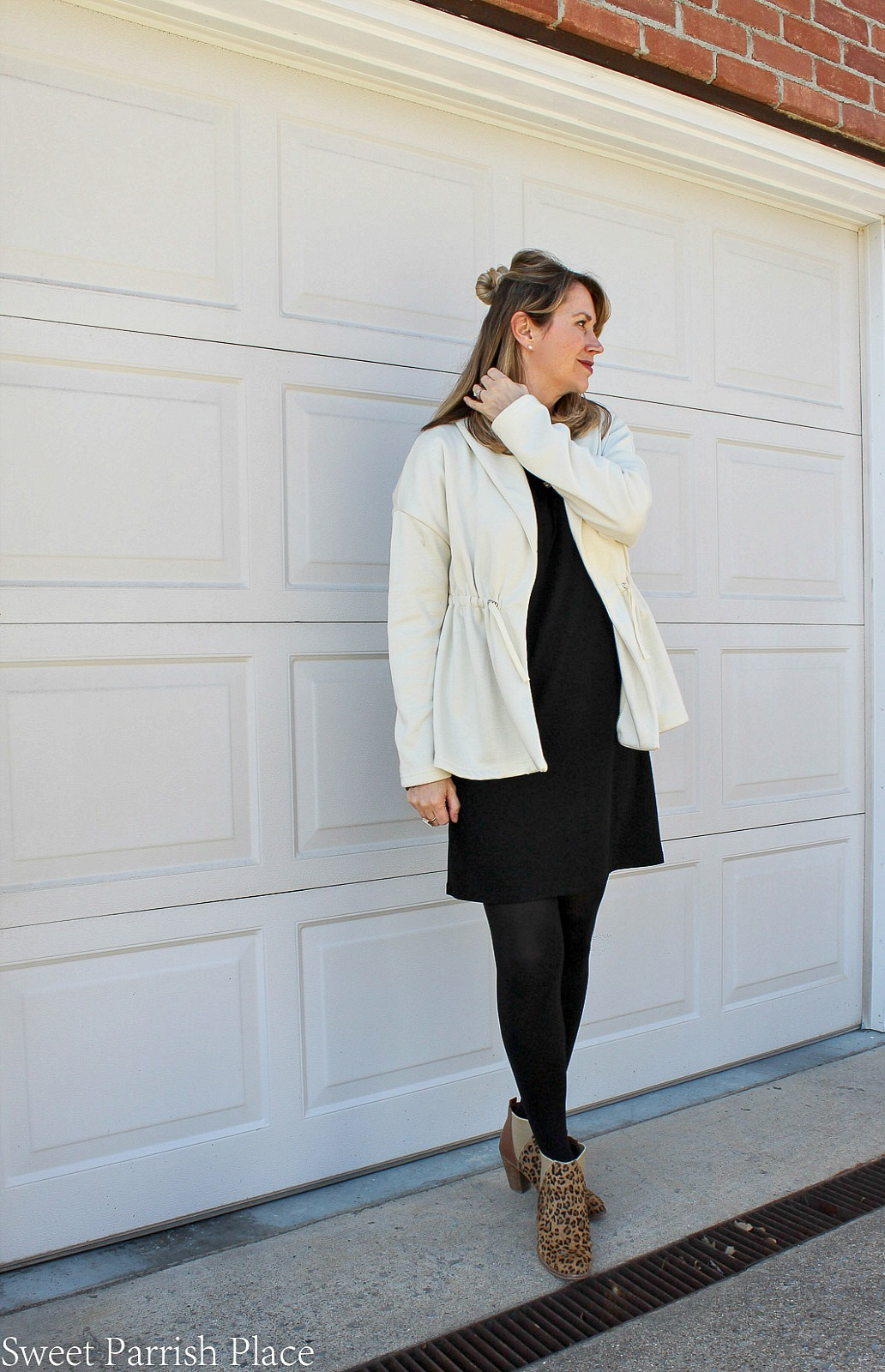 Fabletics sage coat with black dress