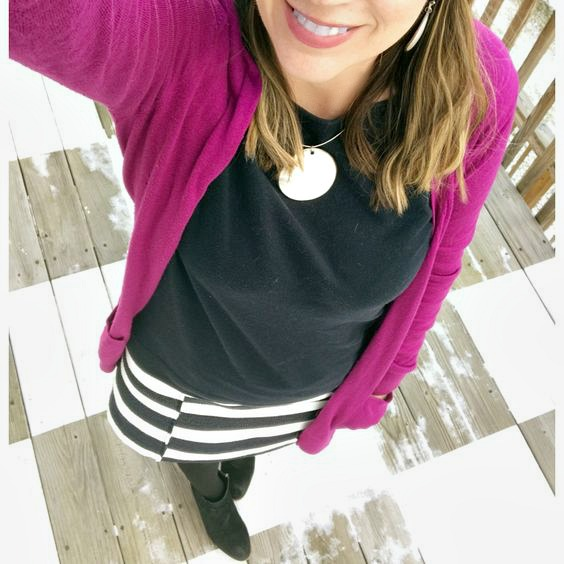 Striped skirt-fuschia cardigan