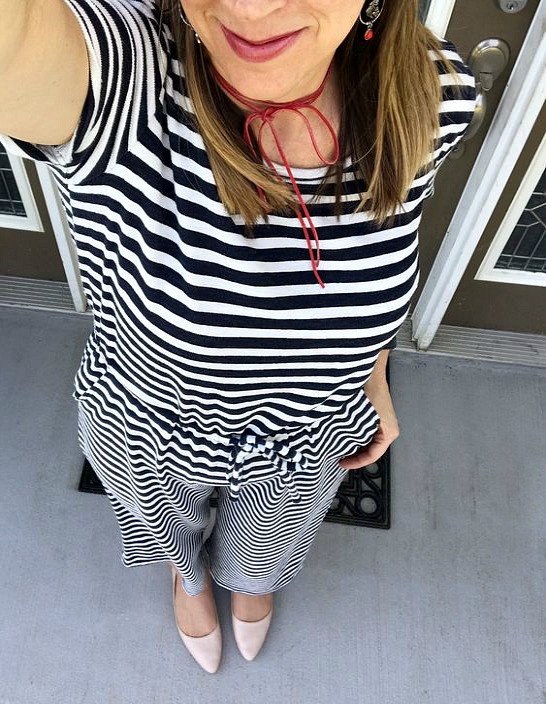 striped jumpsuit Old Navy