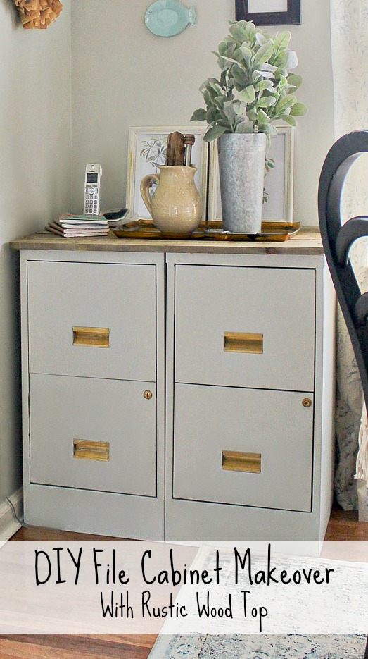 DIY File Cabinet Makeover- with a rustic wood top and gold accents.