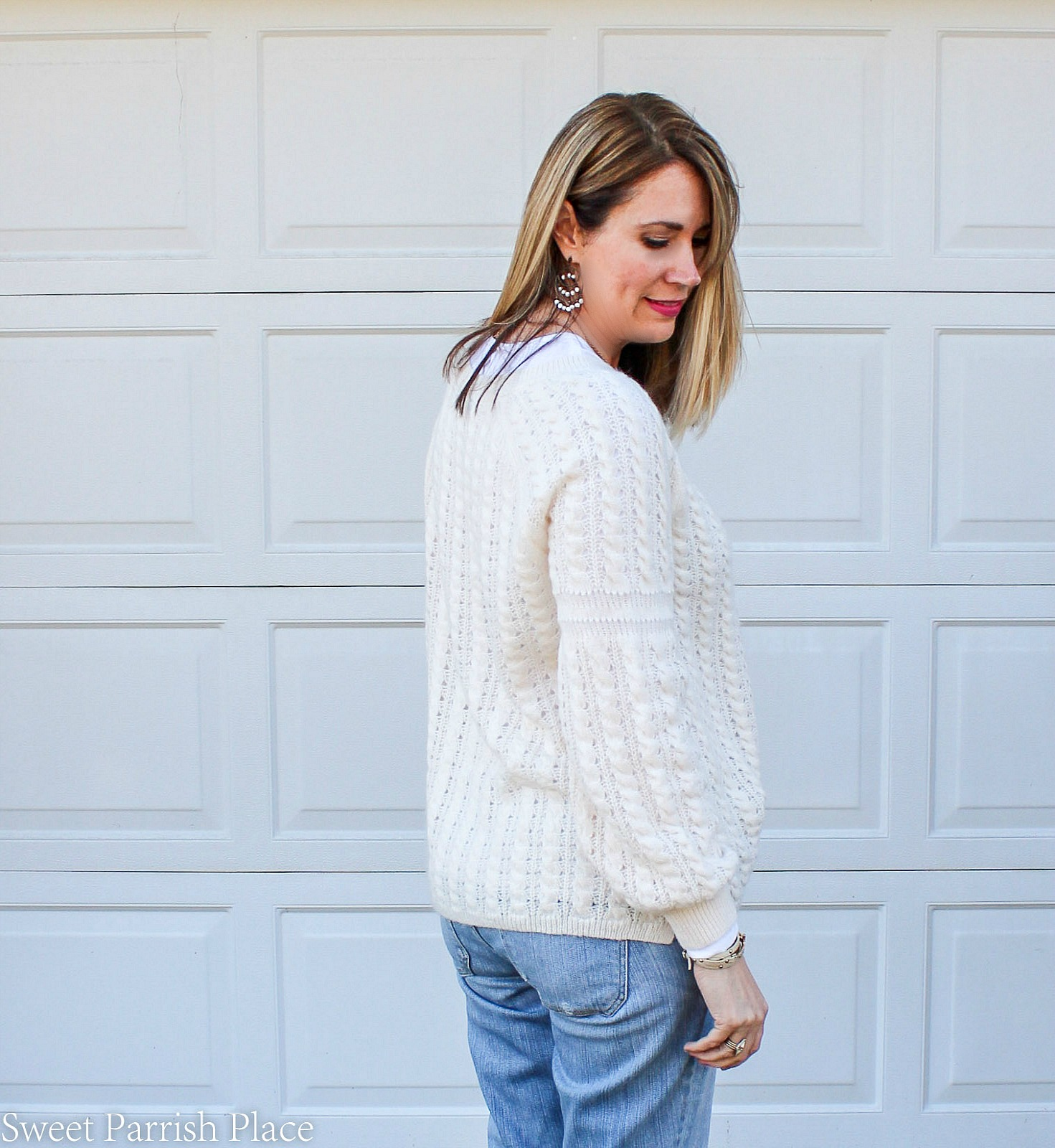 cute sleeve detail on spring sweater