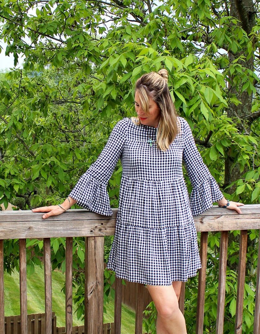 tiered bell sleeve black and white gingham dress
