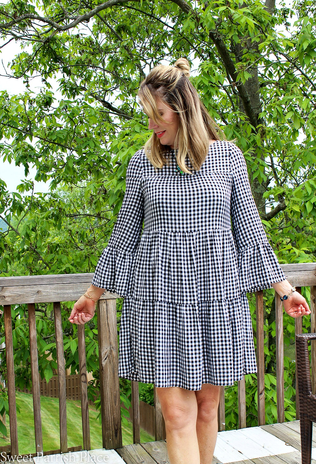 tiered bell sleeve gingham dress