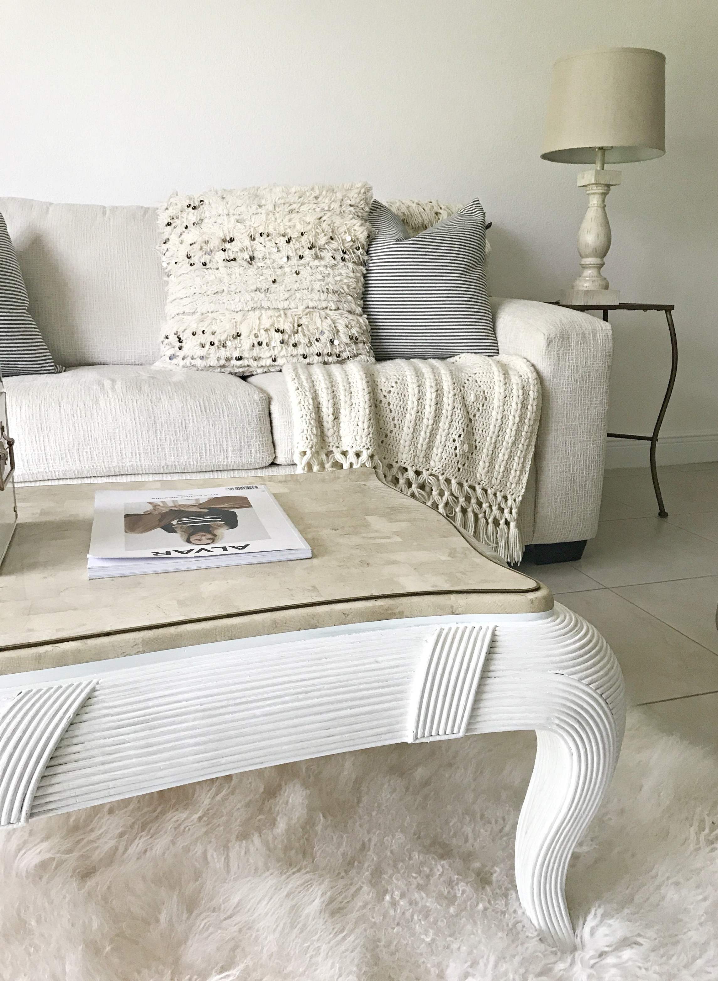 white and cream coffee table
