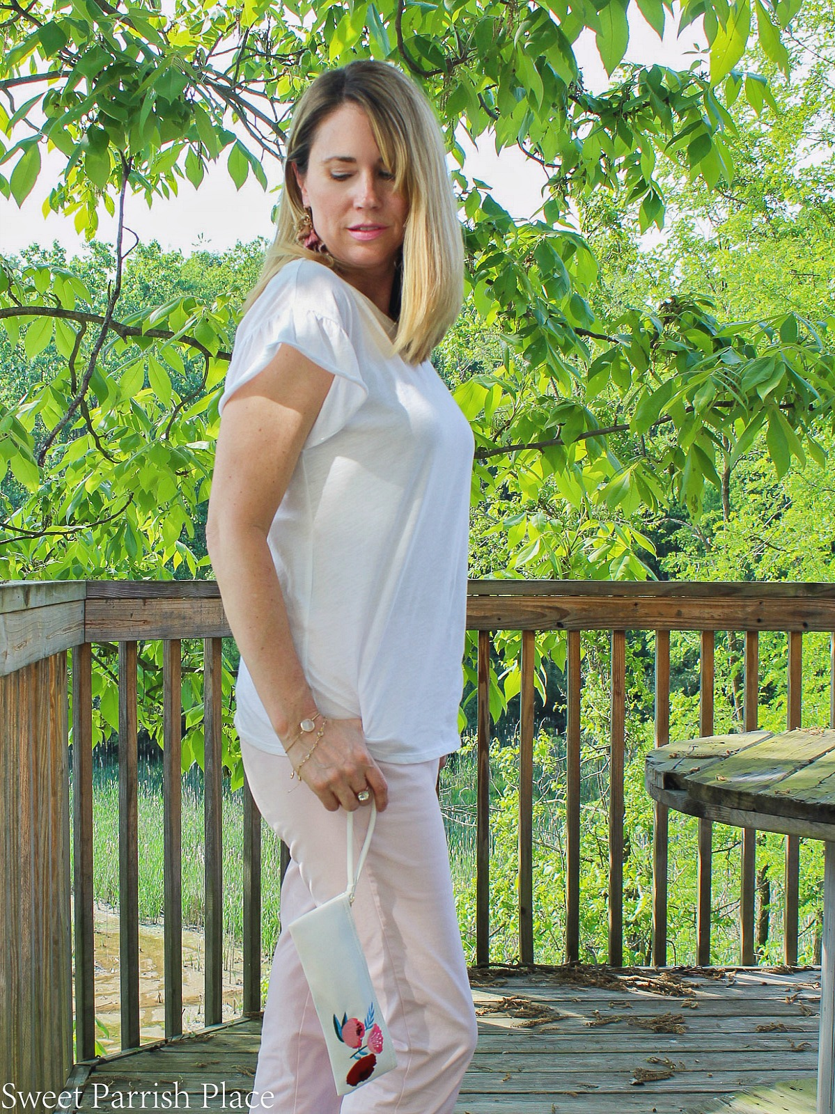 white flutter sleeve top from Loft