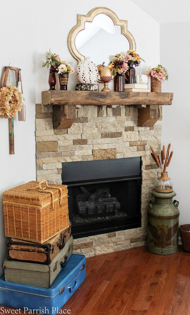 Fall decor on mantle