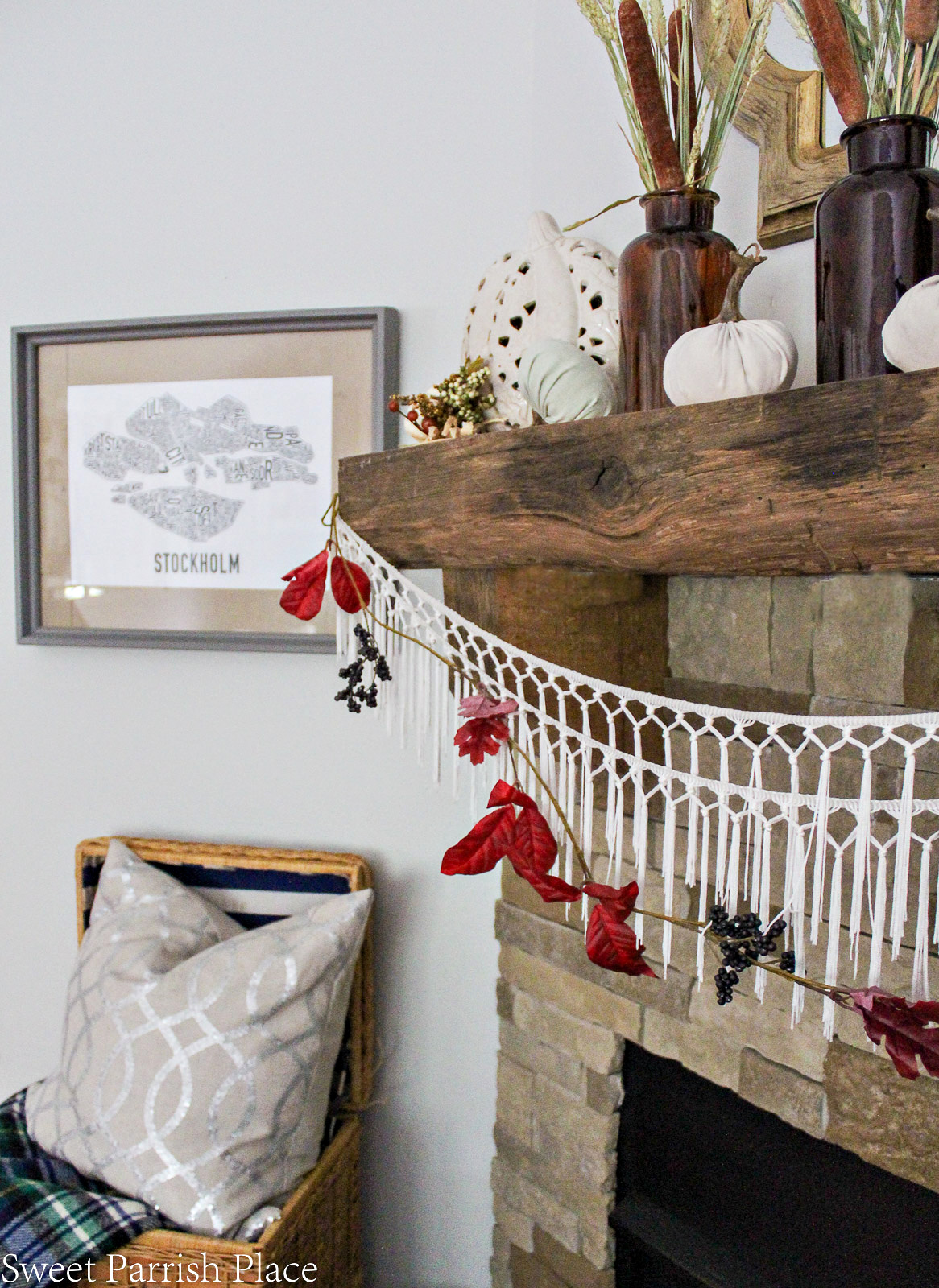 colorful garland for fall mantle