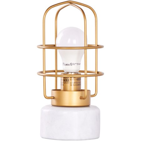 brushed brass finish marble base table lamp