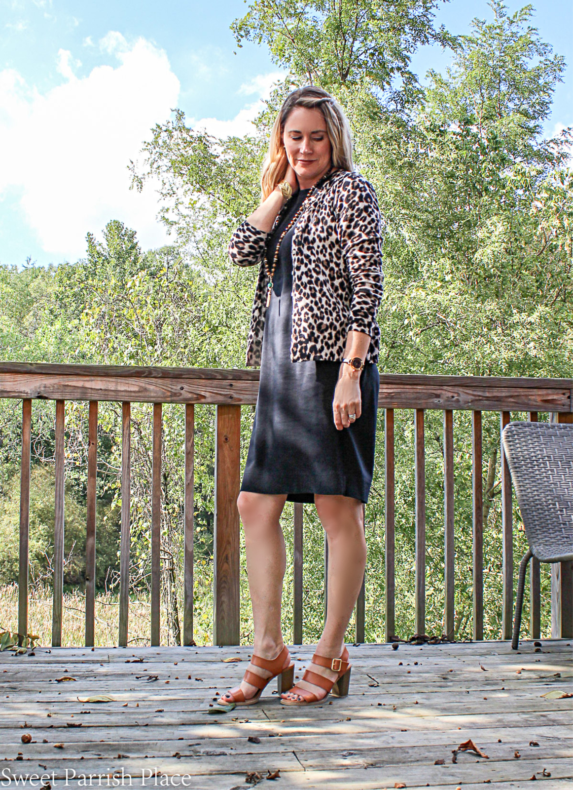 use a cardigan to transition a summer dress to fall