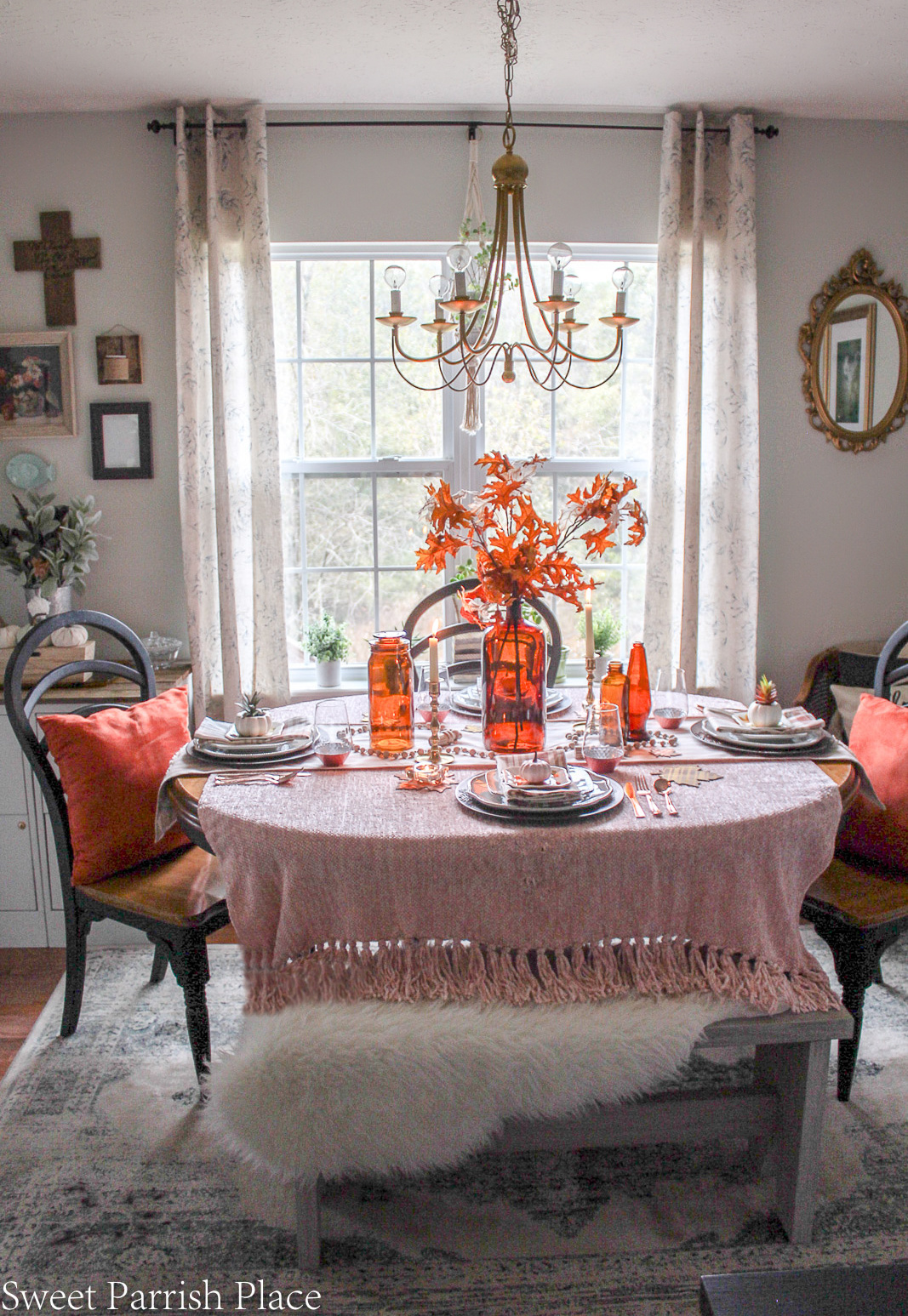cozy blush and amber tablescape for fall