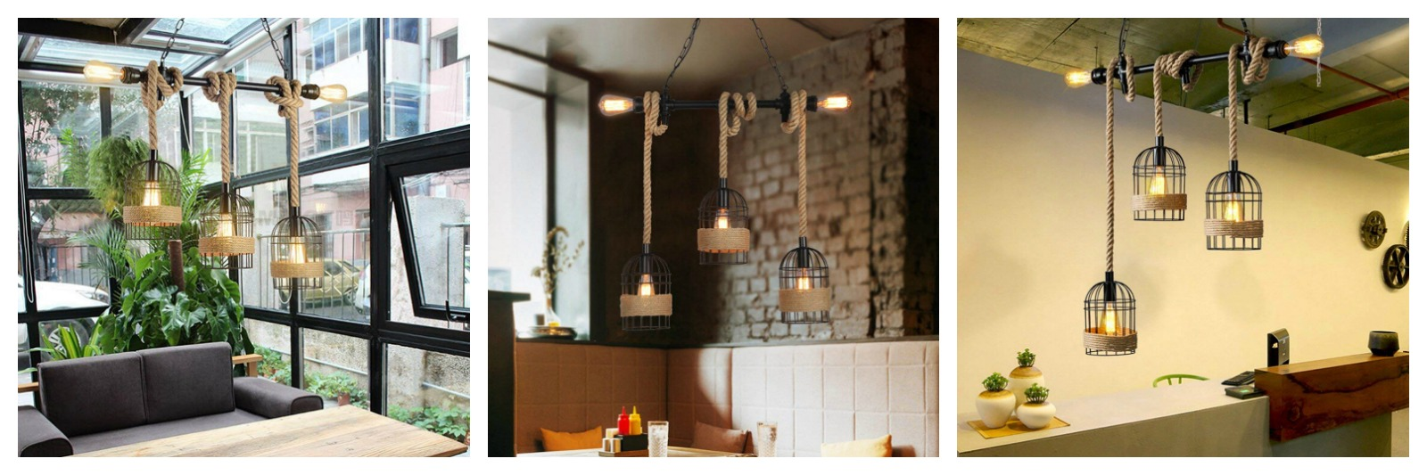industrial cage lighting with rope accents