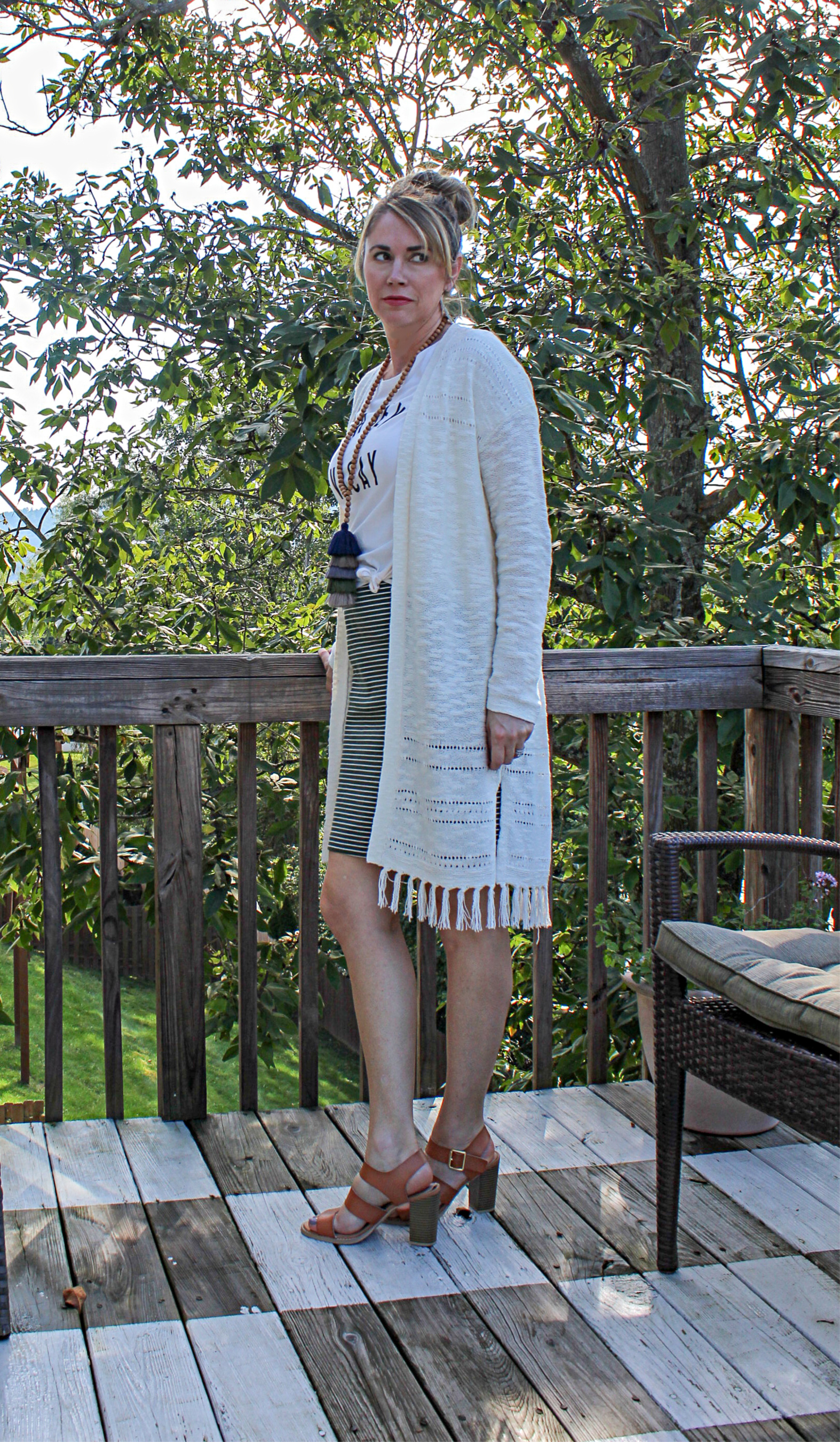 striped pencil skirt with fringe cardigan