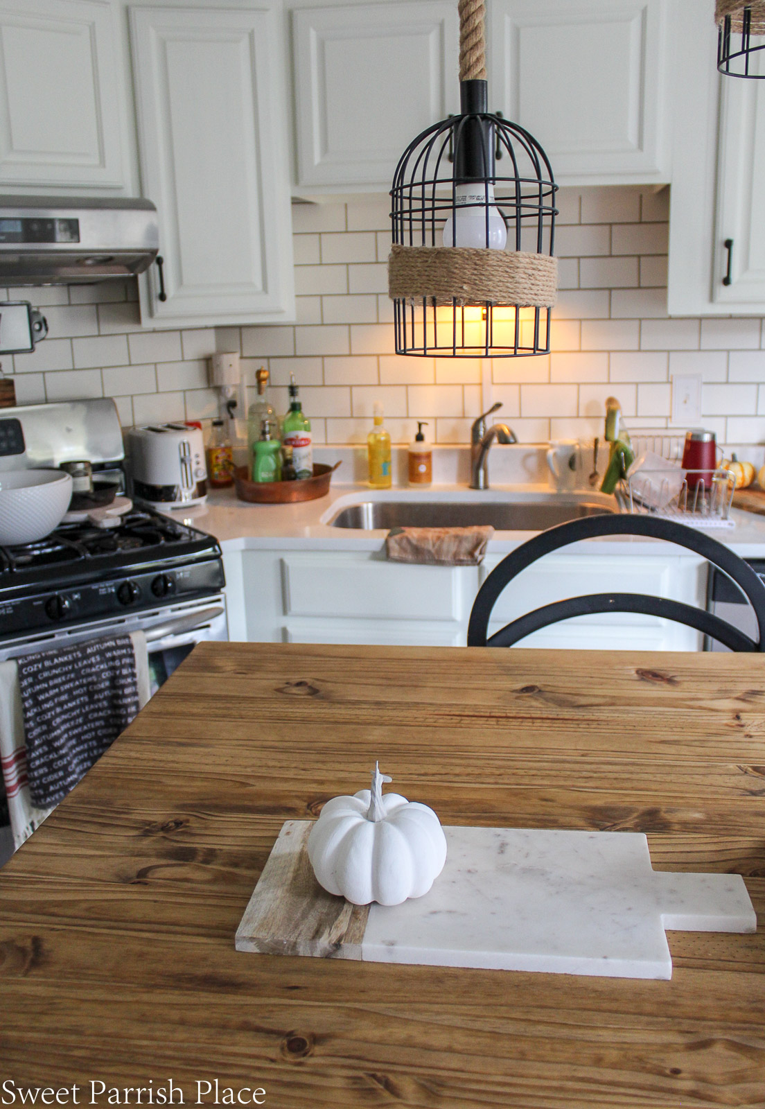 rustic wood kitchen island top