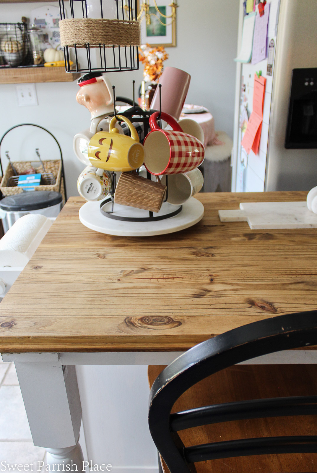 farmhouse kitchen island with rustic wood top