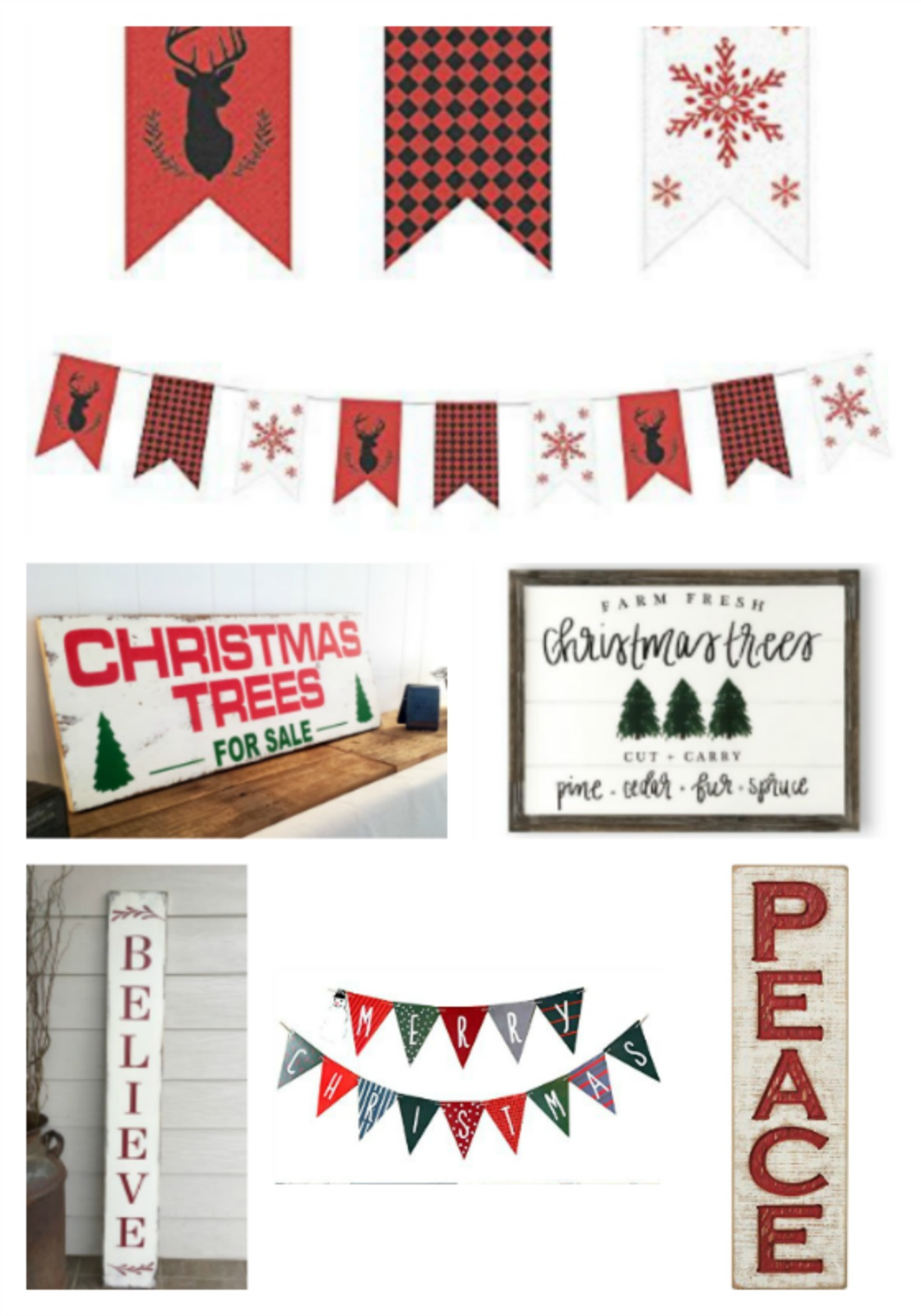 Christmas signs and banners
