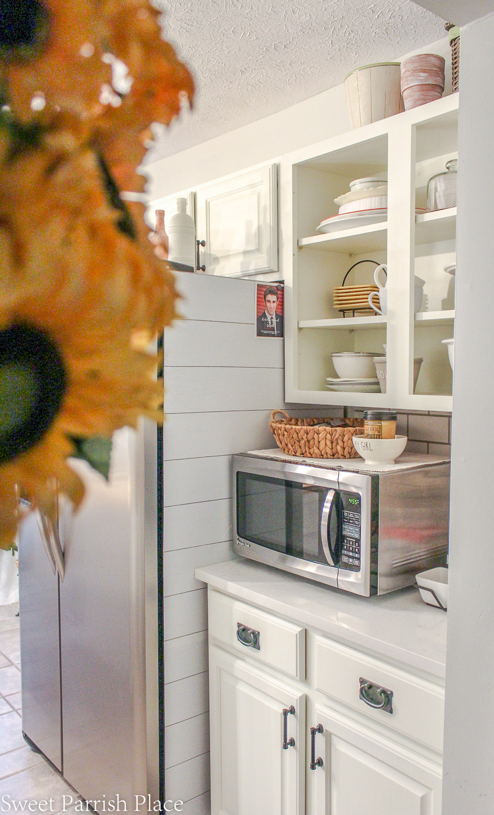 remove cabinet doors to create an open shelving concept