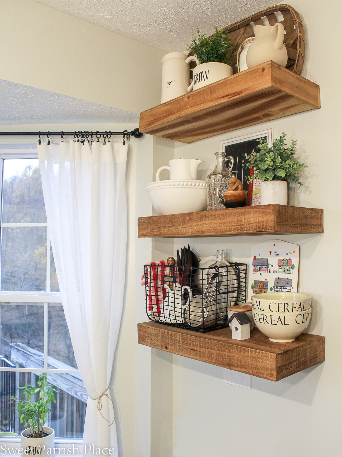 floating shelves from Hobby Lobby