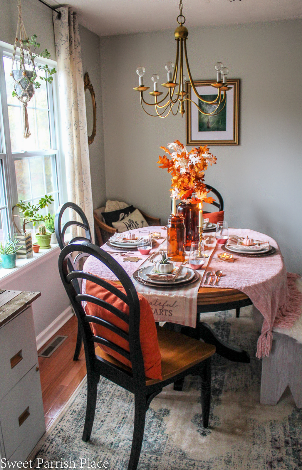 cozy blush and amber fall table