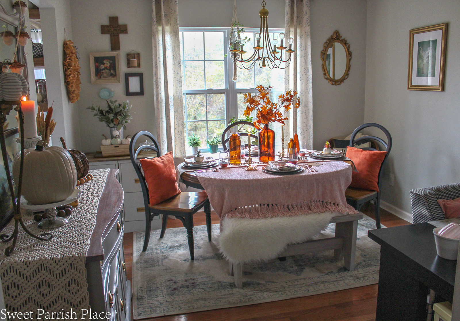 cozy blush and amber dining room
