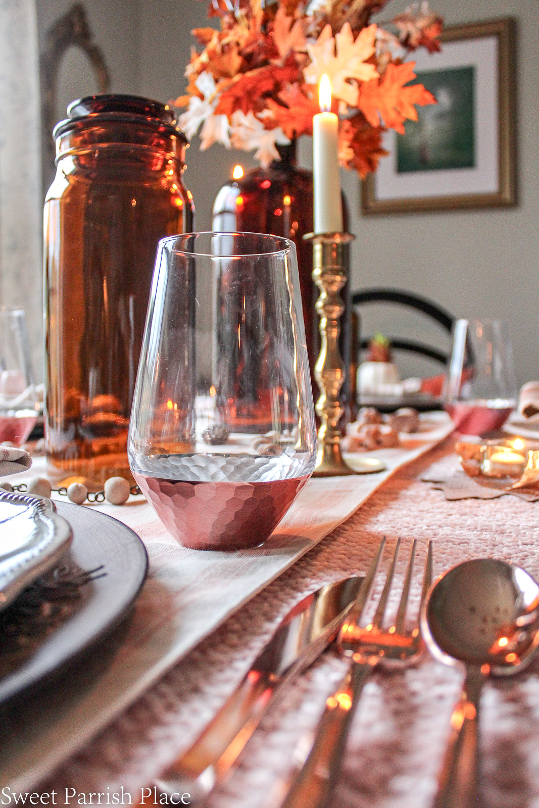 blush and amber table