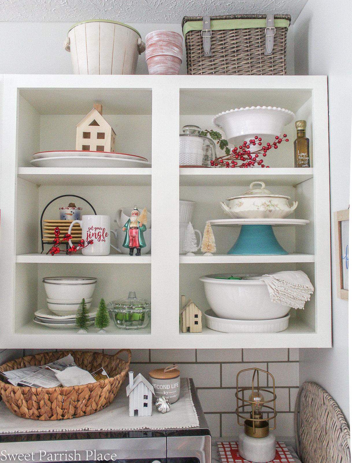 Christmas in my new kitchen- open cabinet shelving