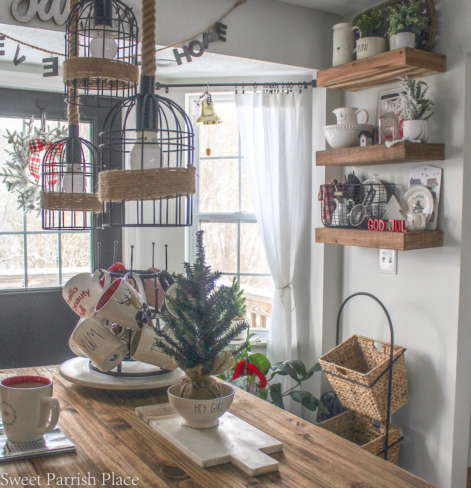 Christmas in my new kitchen- rustic wood shelves in background
