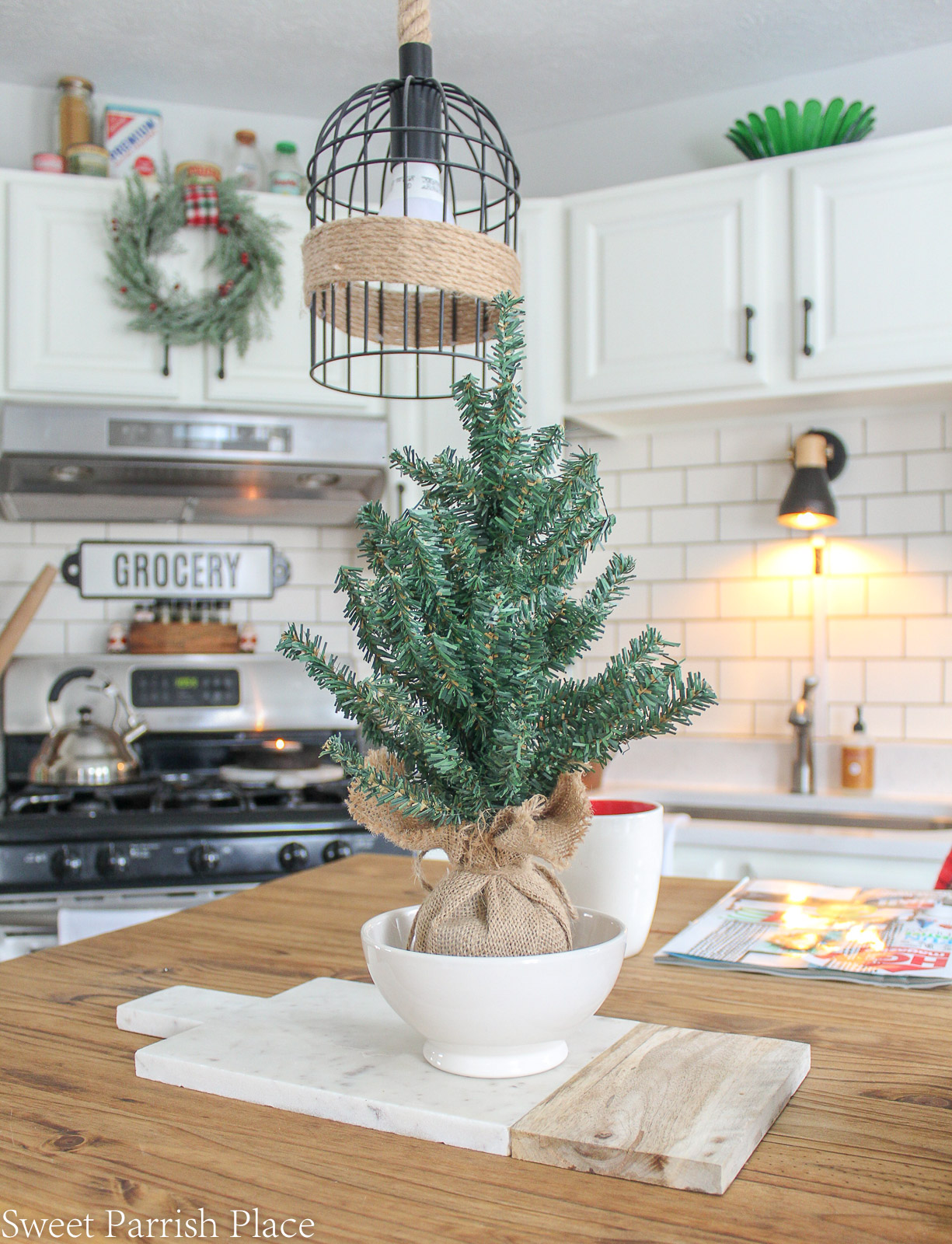 Christmas in my new kitchen- small tree on island