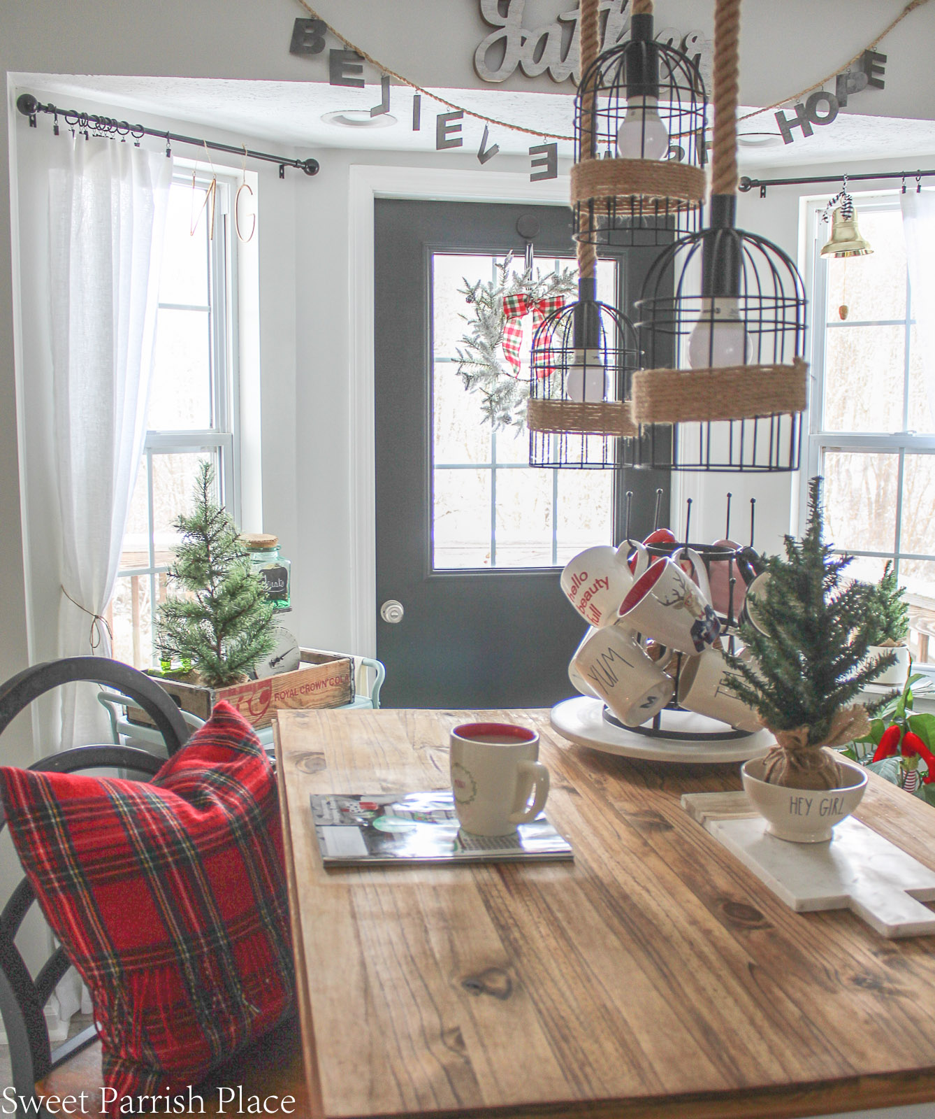 Christmas in my new kitchen- rustic wood island