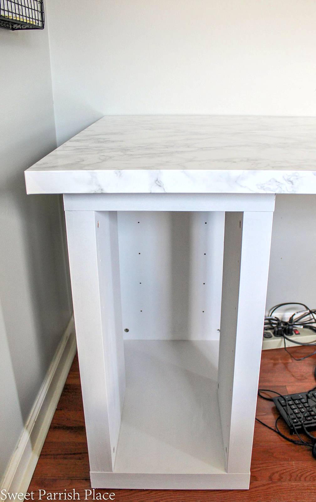 marble contact paper on Ikea desk top
