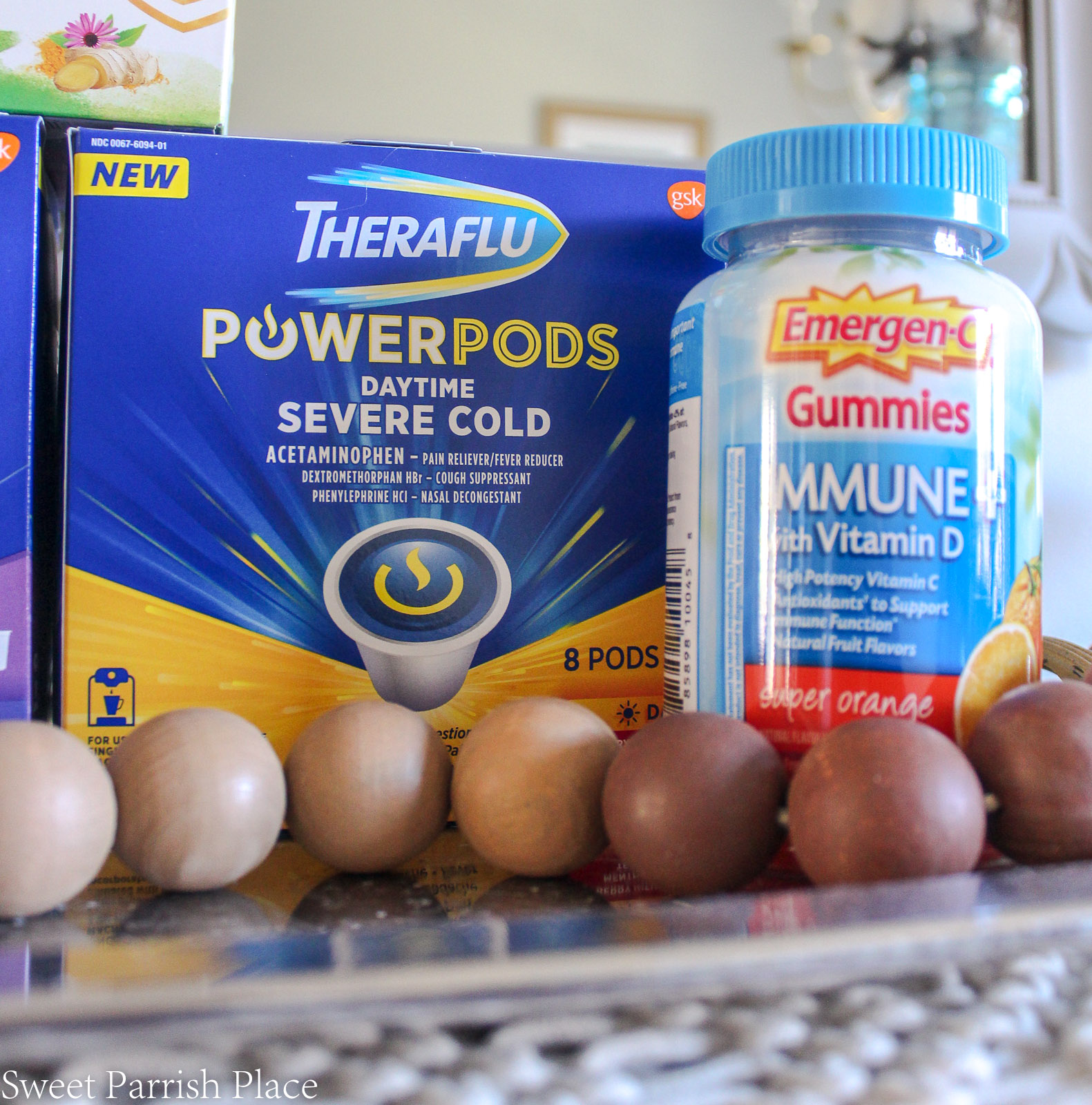 Theraflu power pods and Emergen-C gummies 7 Self Care Tips For Sick Moms