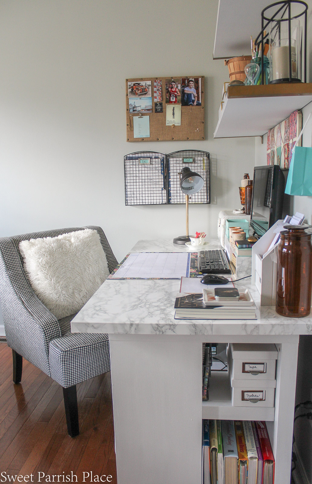 Modern Farmhouse Dining Room/office with marble contact paper on desk top