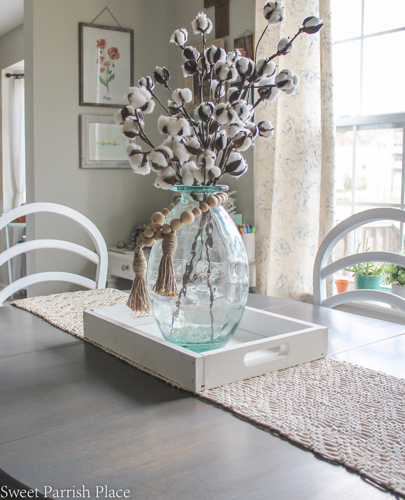 Modern Farmhouse Dining Room table with weathered grey stain