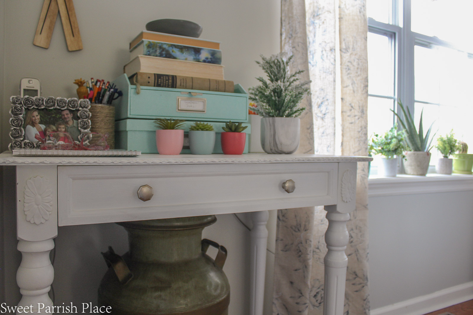 Modern Farmhouse Dining Room corner table vignette and view of succulents on window sill