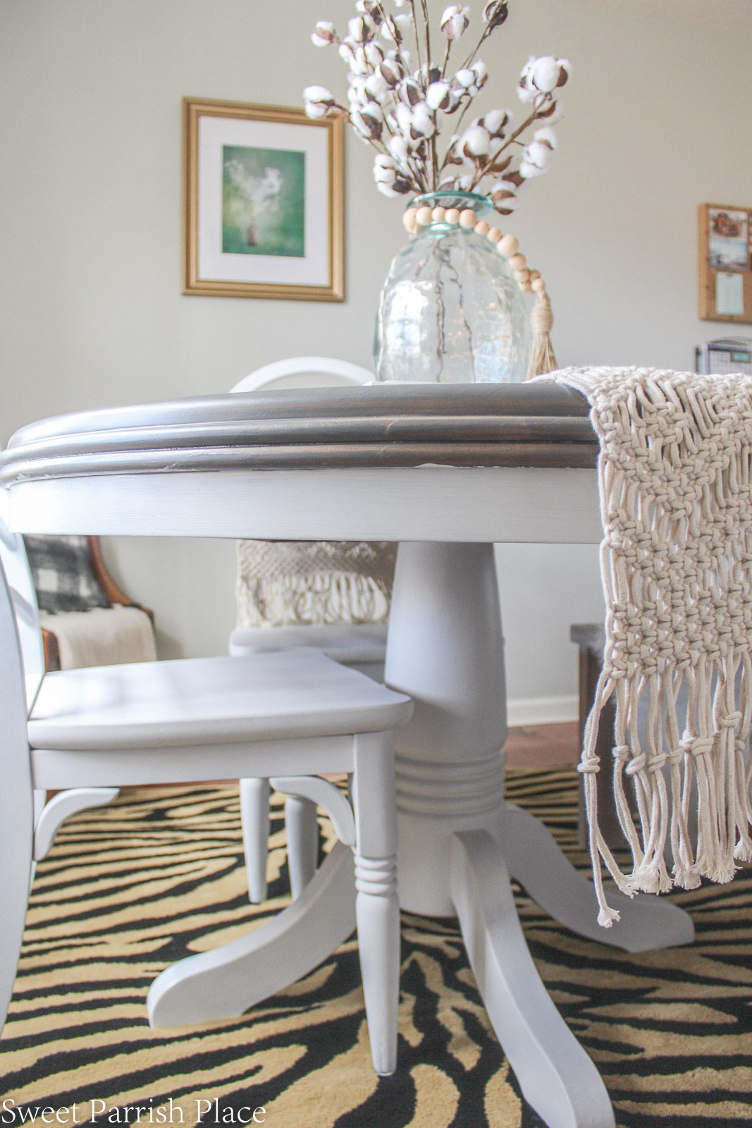 Modern Farmhouse Dining Room table makeover with white base
