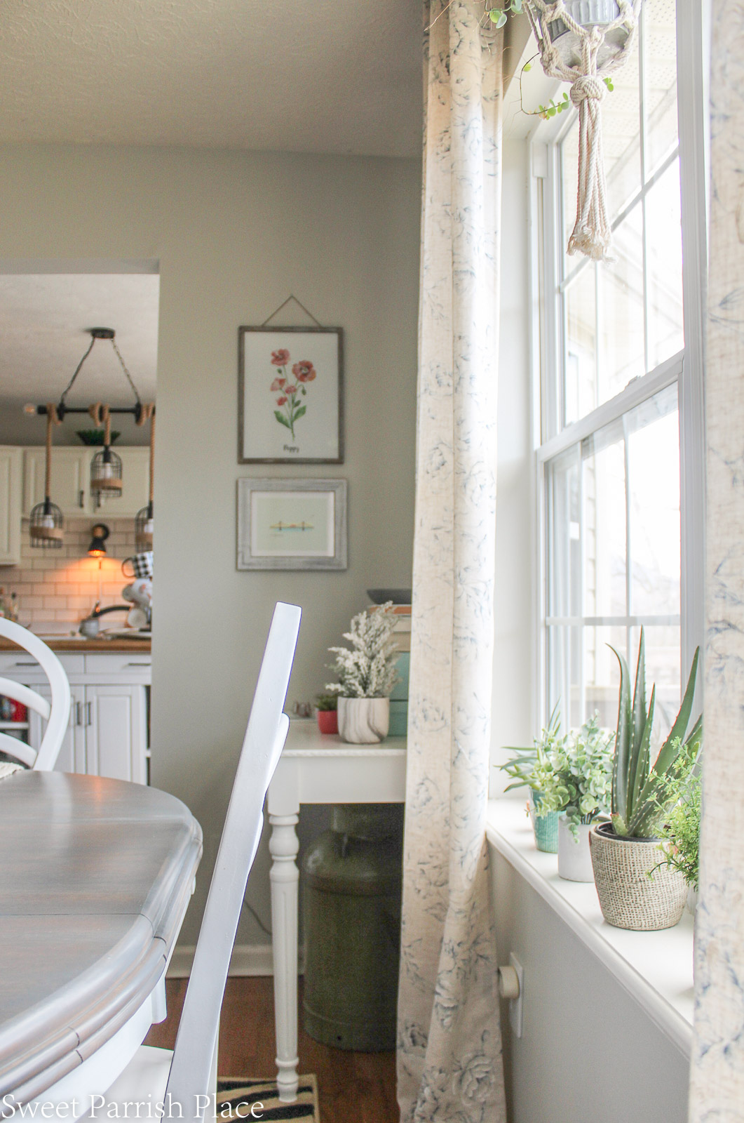 Modern Farmhouse Dining Room view into kitchen