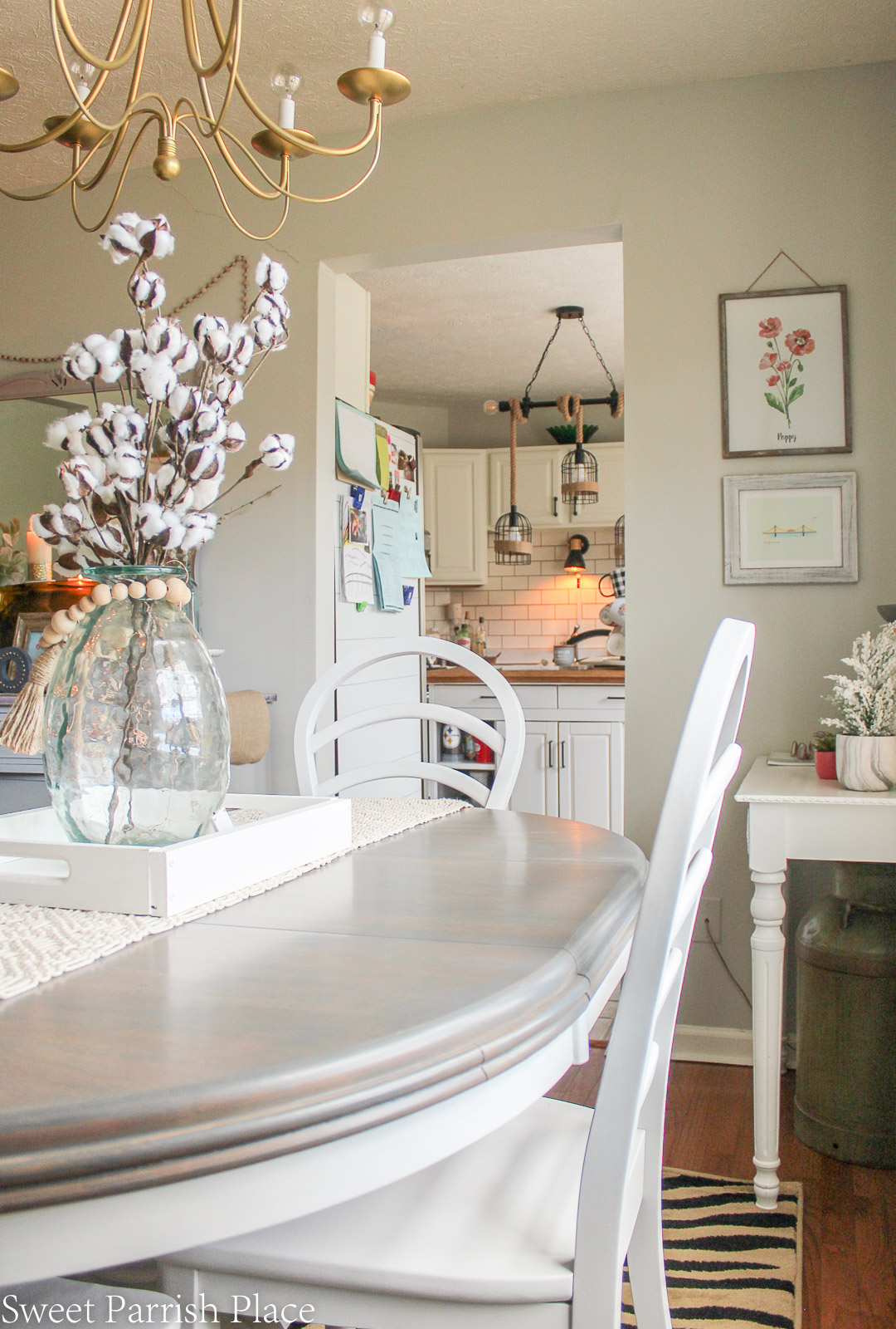farmhouse dining table makeover with weathered gray stain