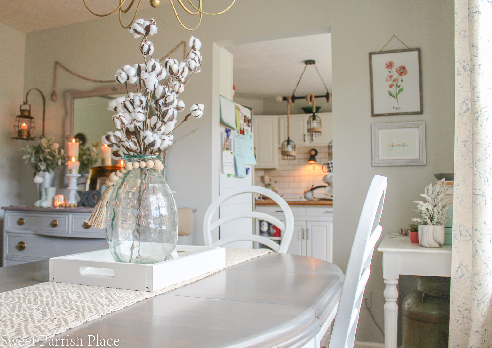Modern Farmhouse Dining Room with table, and buffet