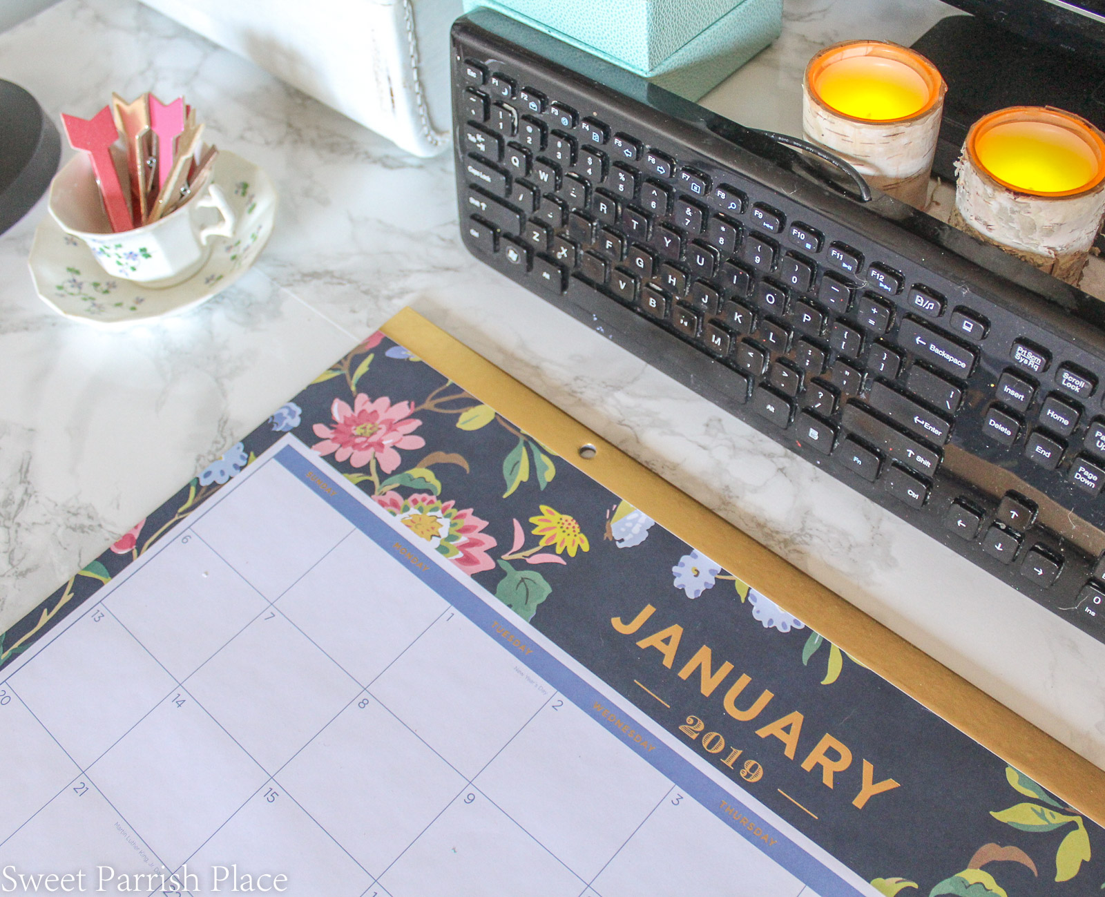 Modern Farmhouse office with floral and navy desk pad