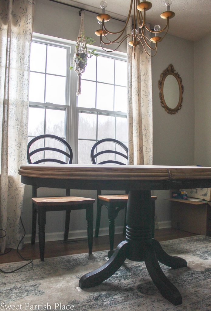 dining table makeover progress