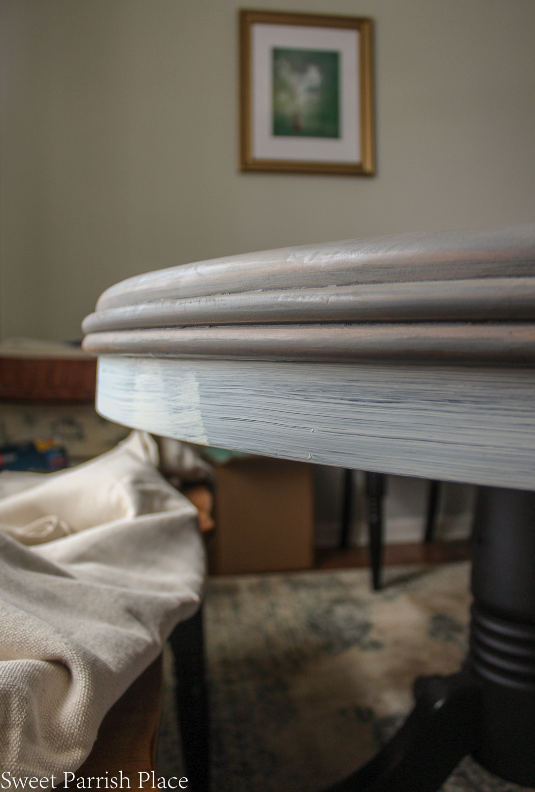 close up of dining table makeover progress