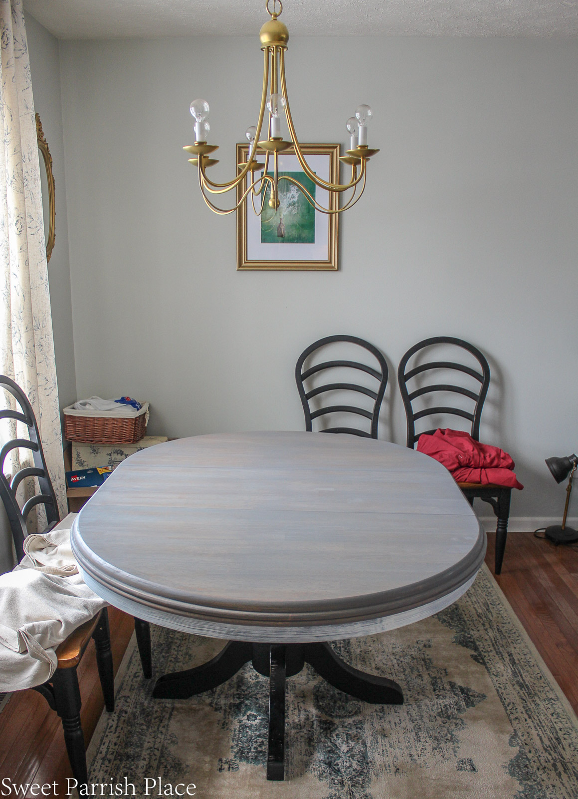 weathered grey dining table makeover after two coats of weathered gray stain