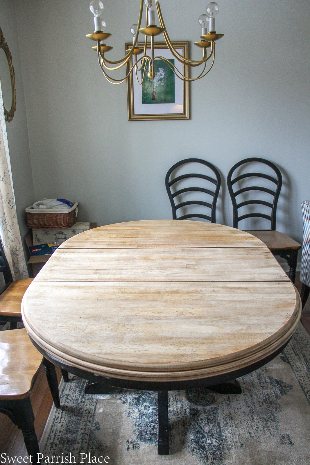 table top stripped down to natural wood