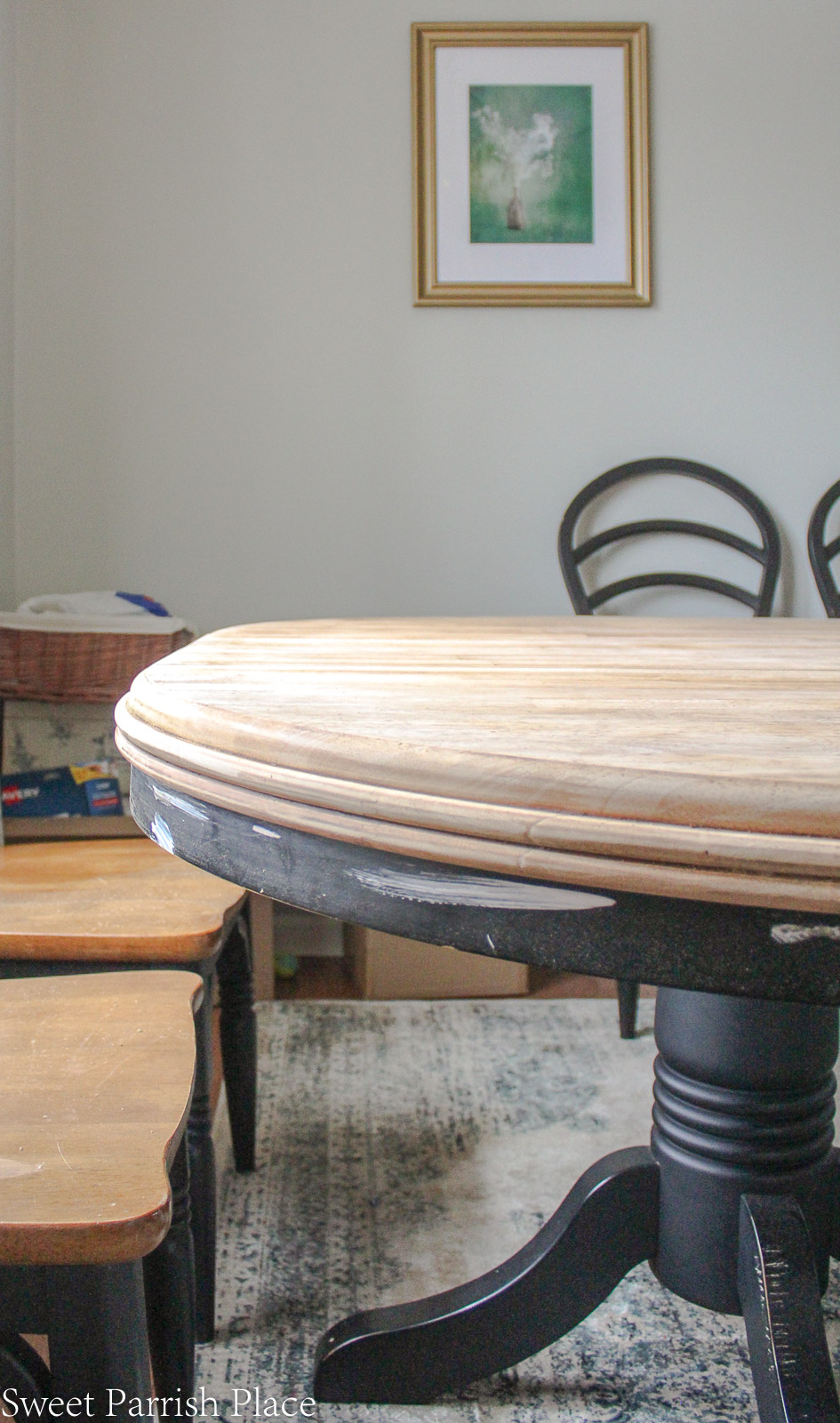 dining table makeover with natural wood on top