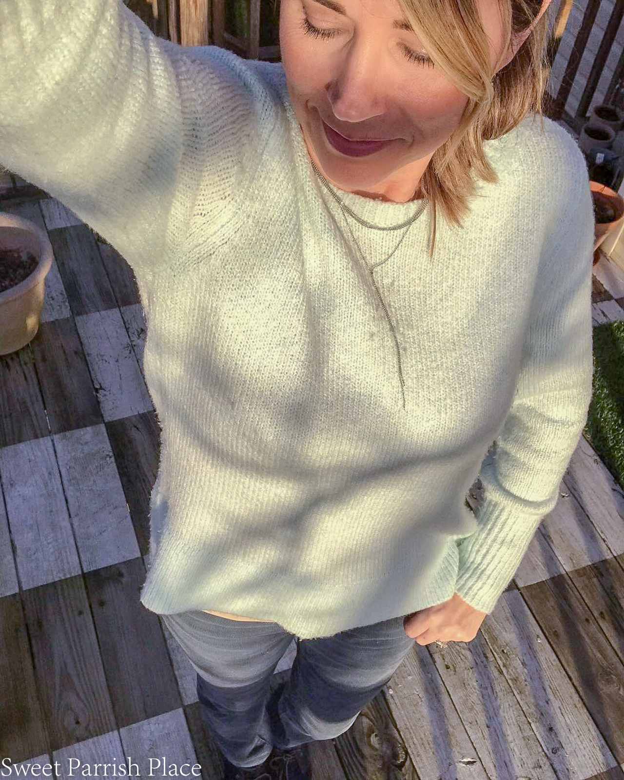 sweater and corduroy pants from Loft