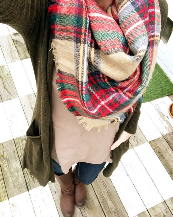 plaid blanket scarf with olive cardigan