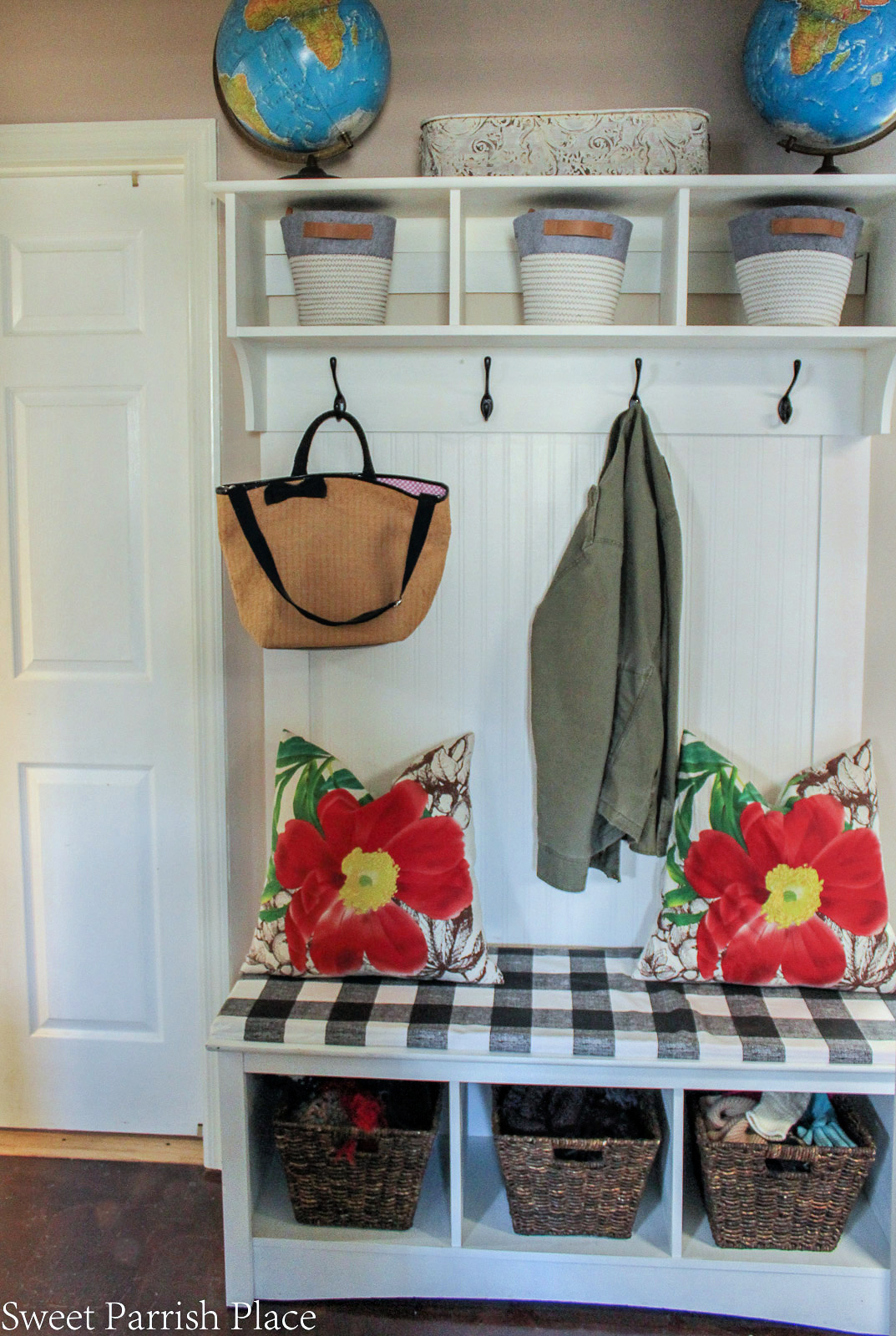 mudroom bench with shelf above